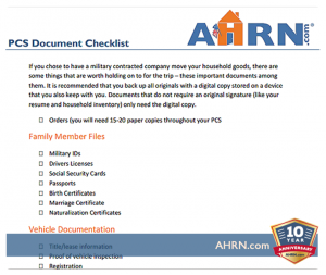 PCS Document Checklist with AHRN.com