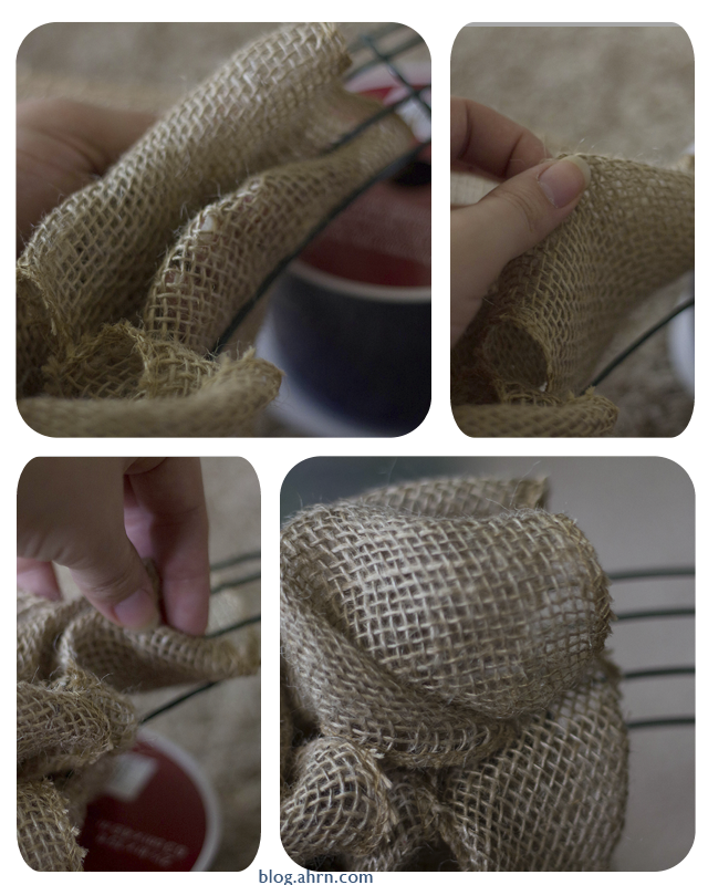 Making the base of your burlap wreath with AHRN.com