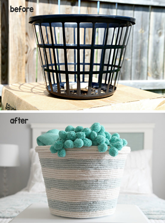 Organization can be decorative with this DIY Rope Basket from I Heart Organizing