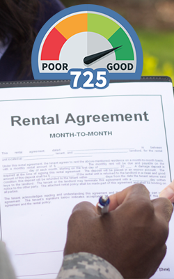 Soldier signing month-to-month rental agreement with credit score dial superimposed