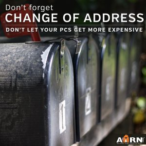 Don't forget your change of address when you PCS
