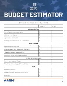 PCS Military Move Budget Estimator P1