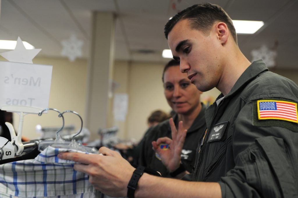 Military personnel shopping for holiday gifts.