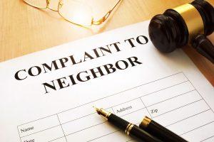 Complaint to neighbor on a table.