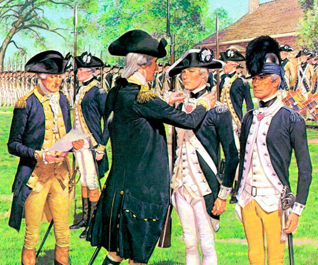 Sergeant William Brown, 5th Connecticut Regiment and Sergeant Elijah Churchill, 2nd Dragoons, receiving their Badges of Military Merit (precursor to the Purple Heart) on May 3rd, 1783.