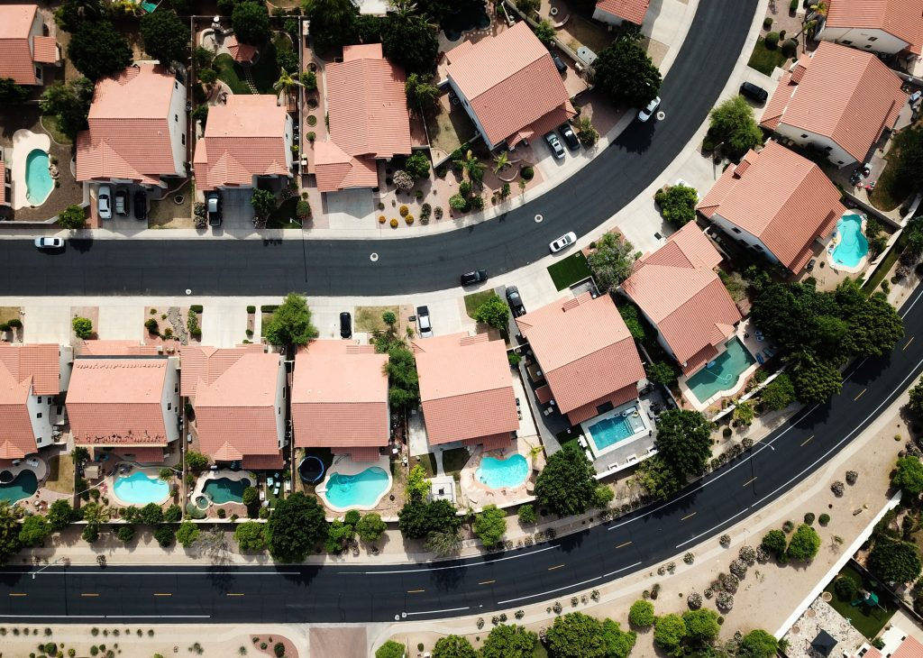 Overhead view of high-end planned community.