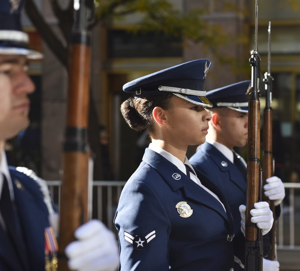 Airman 1st Class Sianii Baxtron, United States Air Force Honor Guard ceremonial guardsman, marches in the Veterans Day Parade in New York, Nov. 11, 2018. The Honor Guard performed in the parade to honor veterans and to inspire, recruit and retain future Airmen. (U.S. Air Force photo by Airman 1st Class Michael S. Murphy)