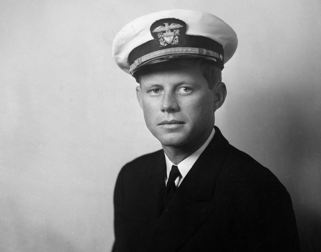 Kennedy in his Navy officer uniform during WWII.