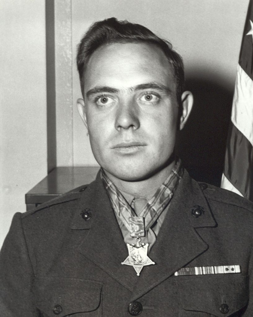 "Corporal Herschel ""Woody"" Williams, USMC, after being awarded the Medal of Honor."